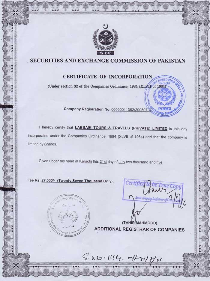 Labbaik Tours Incorporation Certificate