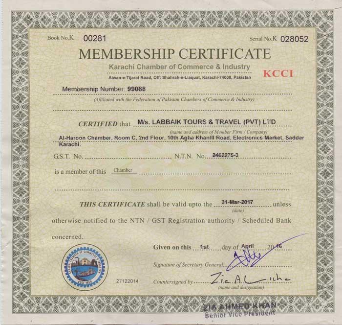 Labbaik Tours KCCI Certificate